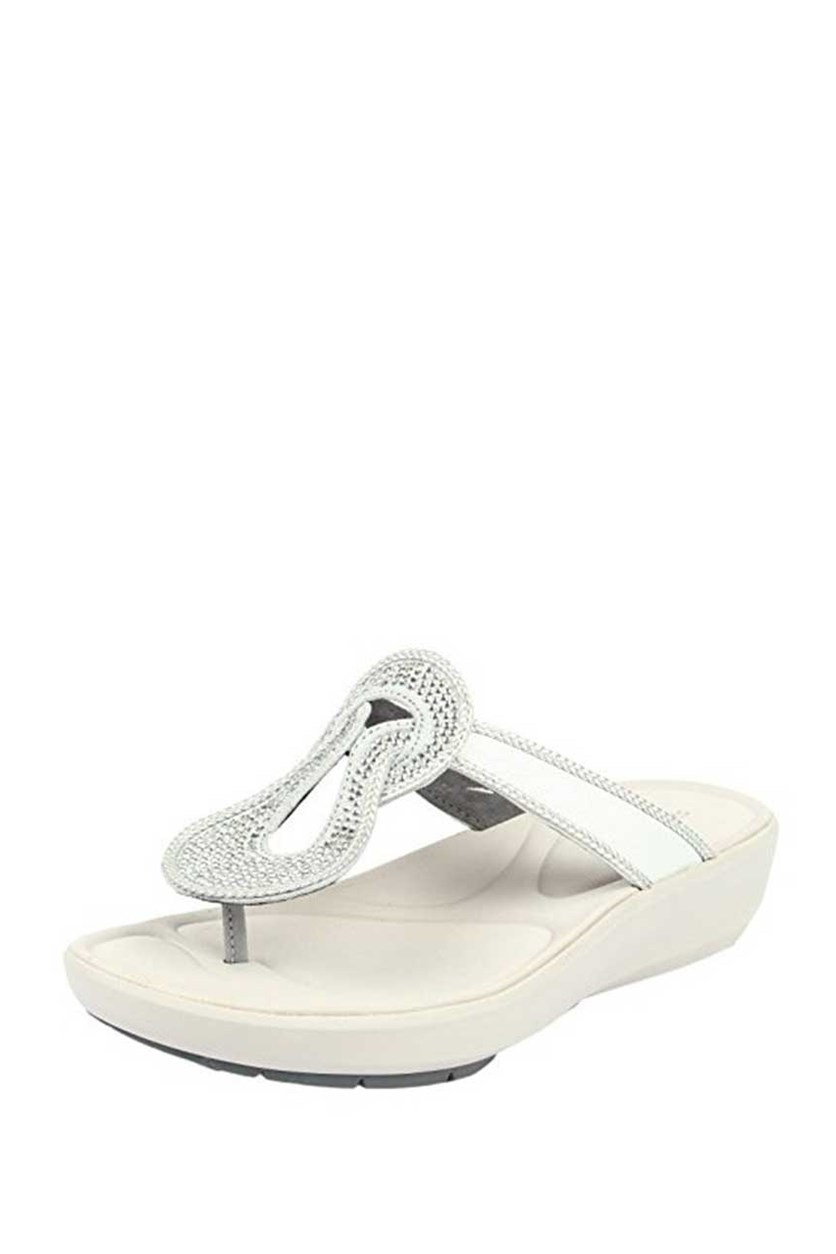Women's Wave Glitz Fashion Slippers, Silver