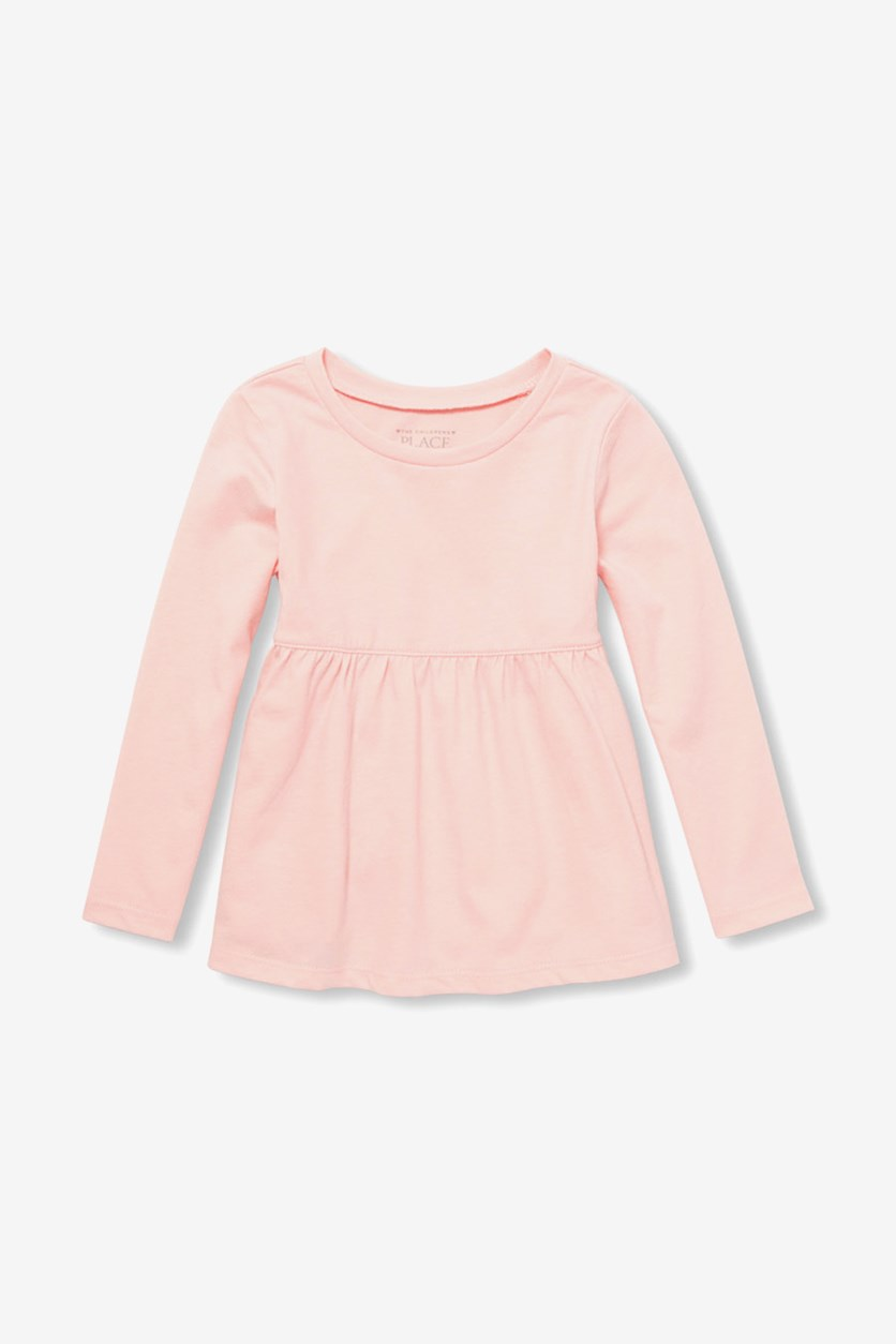 Baby Girl's Long Sleeve Solid Tunic Top, Rosewater