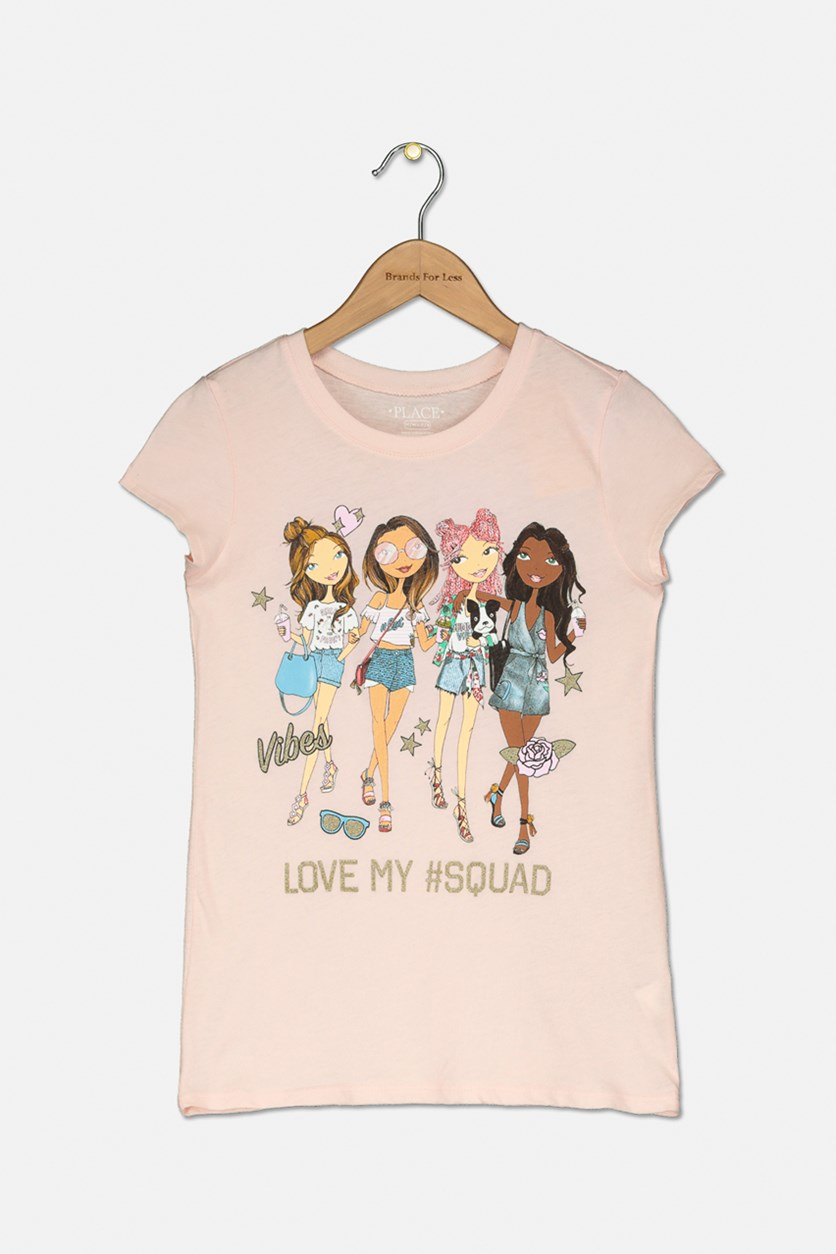 Girl's Love My Squad Graphic Top, Light Peace