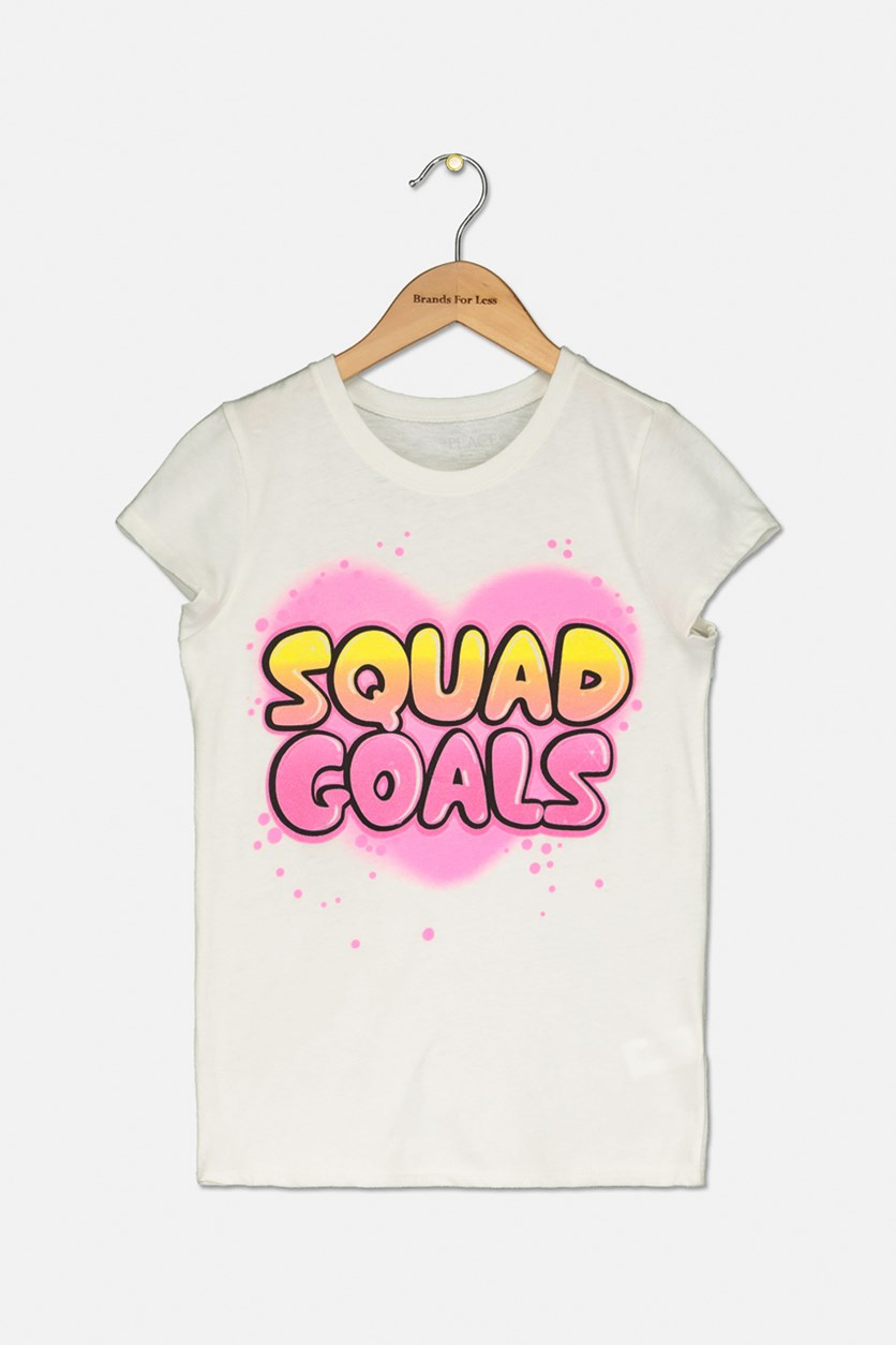 Girl's Squad Goals Graphic Top, White