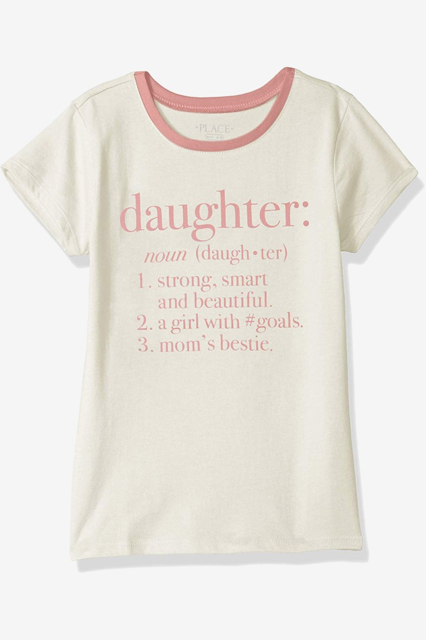 Girl's Graphic Print Top, Cream