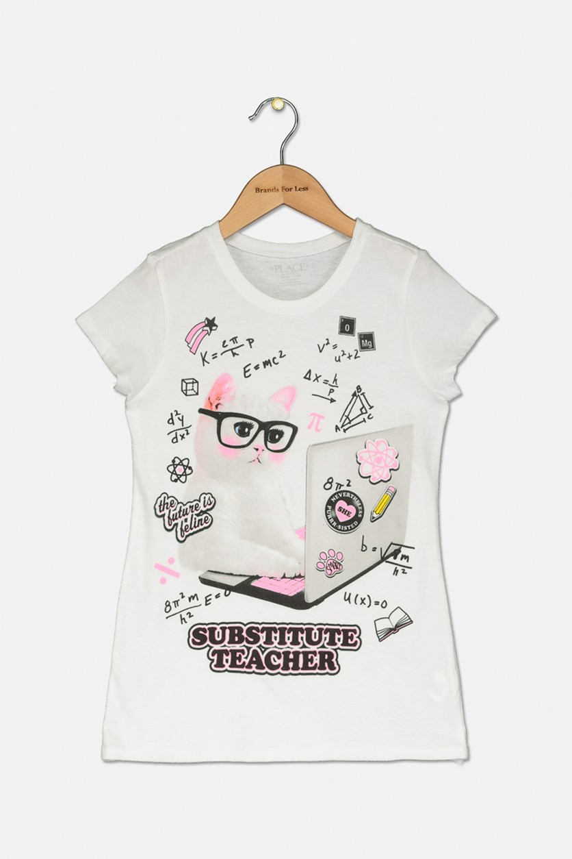 Girl's Substitute Teacher Graphic Top, White