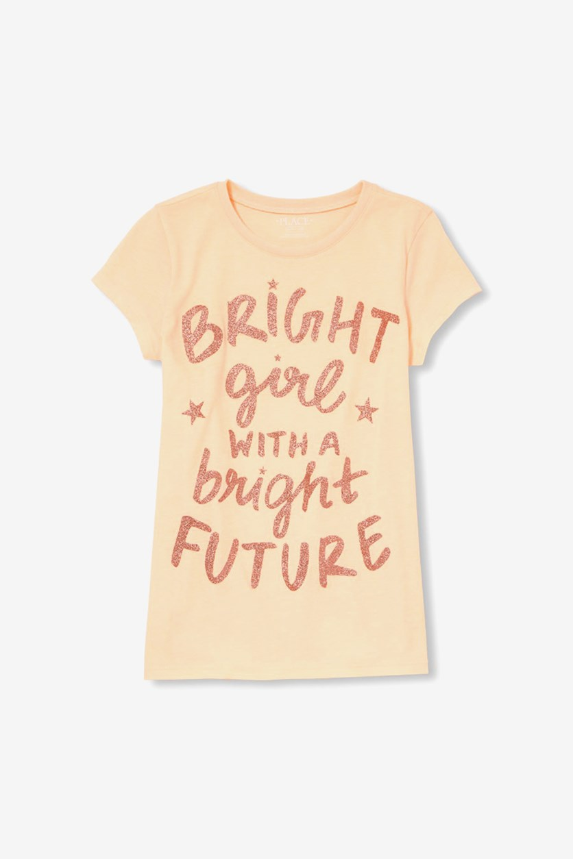 Kids Girls Graphic Tee, Neon Aprict