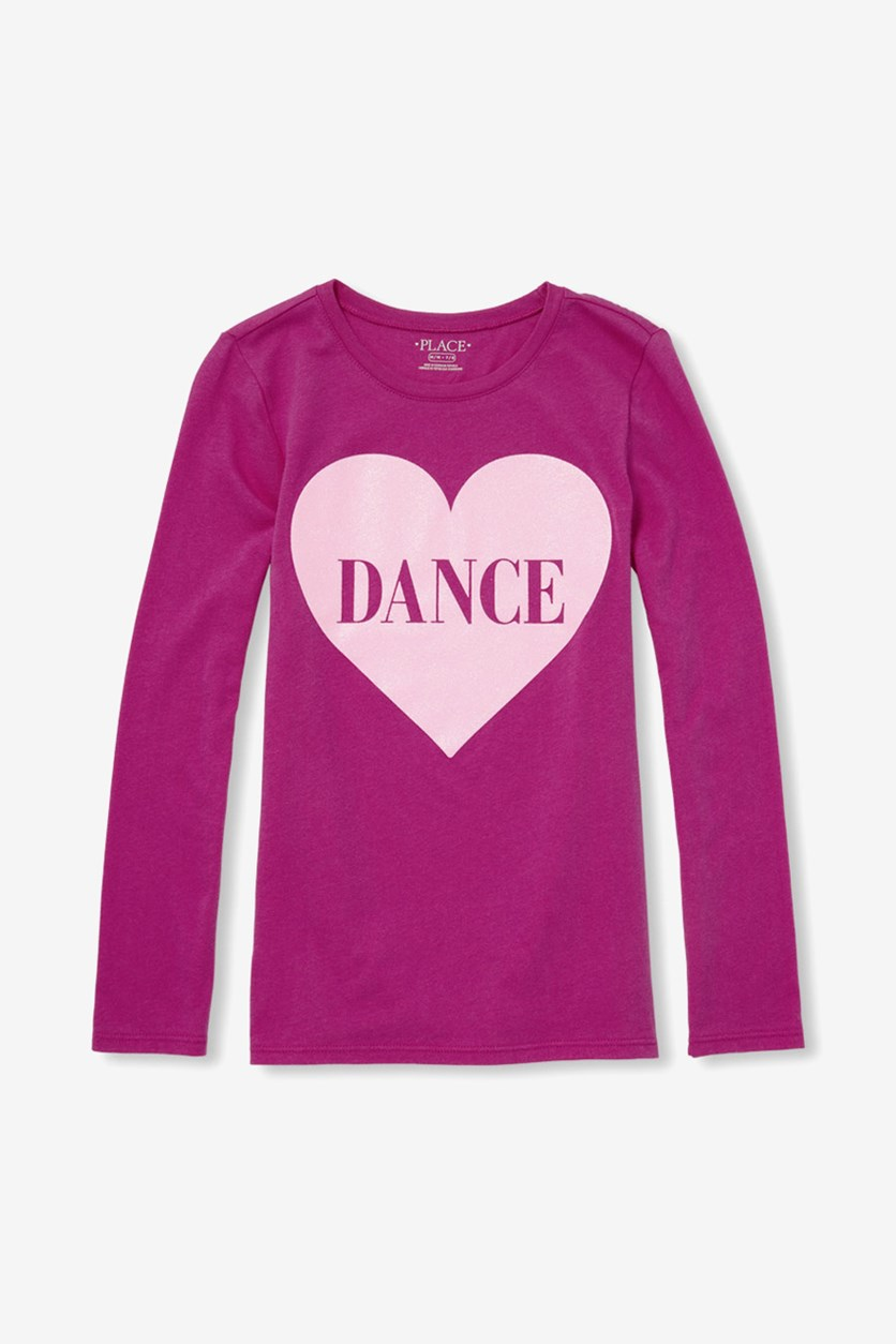 Girls Long Sleeve Glitter Graphic T Shirt, Purple