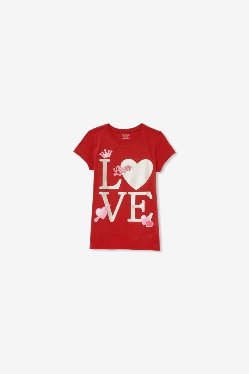 Girl's Love Heart Graphic Print Top, Red