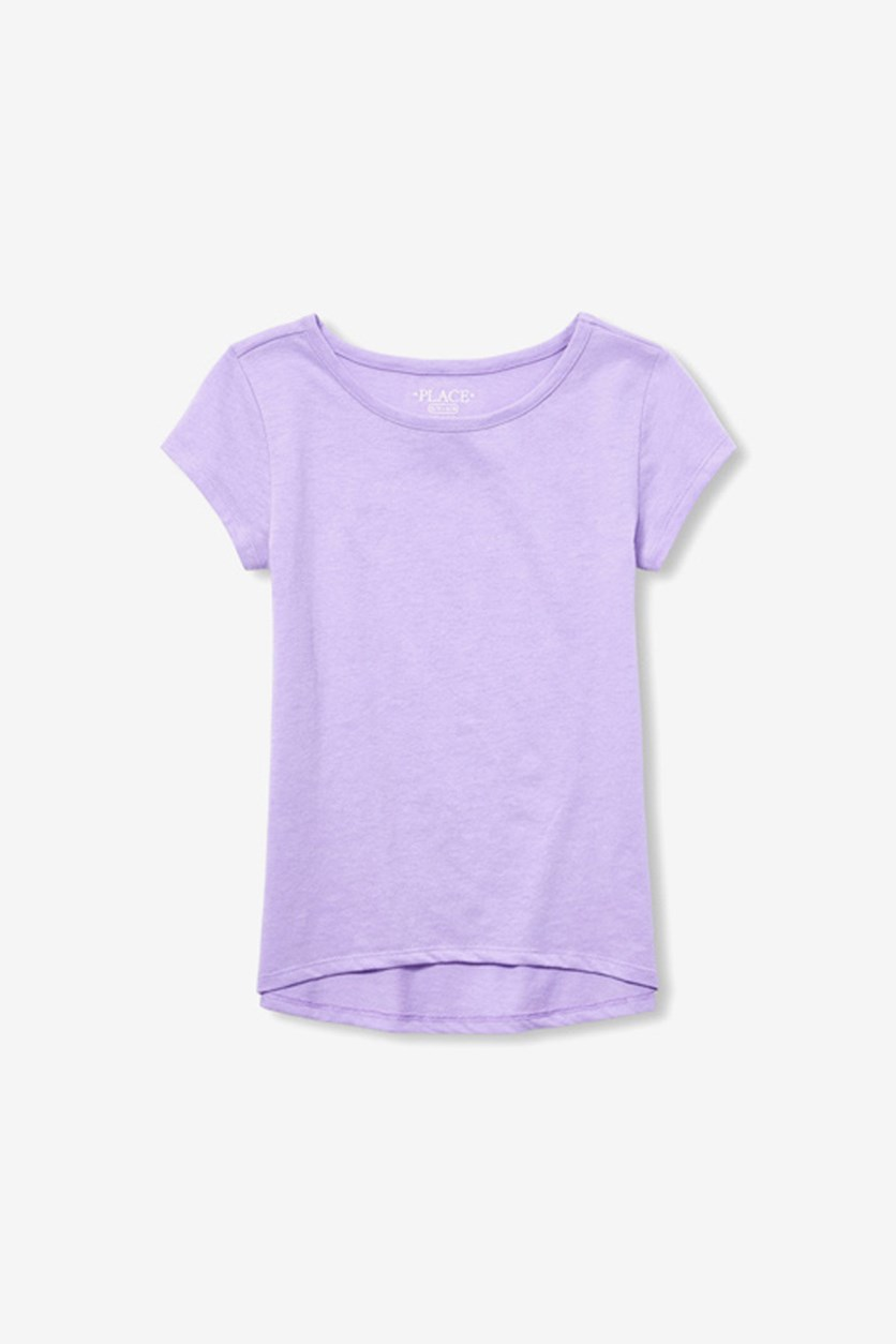 Kids Girls Short Sleeve High Low Layering Tee, Purple
