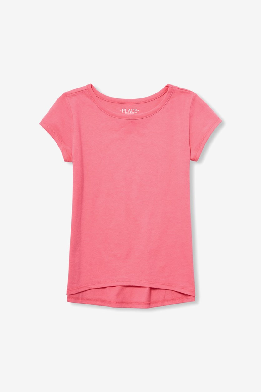 Girls Matchables Short Sleeve High Low Layering Tee, Pink
