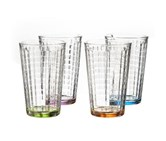 Style Setter Hoboken colored 14 oz. Highball glass (Set of 4), Green/Pink/Blue/Yellow