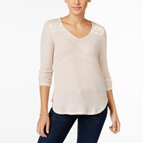 Style & Co. Petite Crochet-Detail Ribbed Top, Light Brown