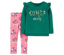 Carter's  Baby Girl 2PC Top & Floral Legging Set, Green/Pink