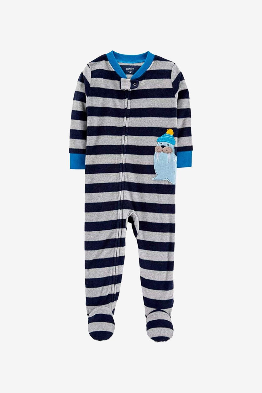Little Boy Walrus Striped Fleece Footed Sleepwear, Navy/Gray