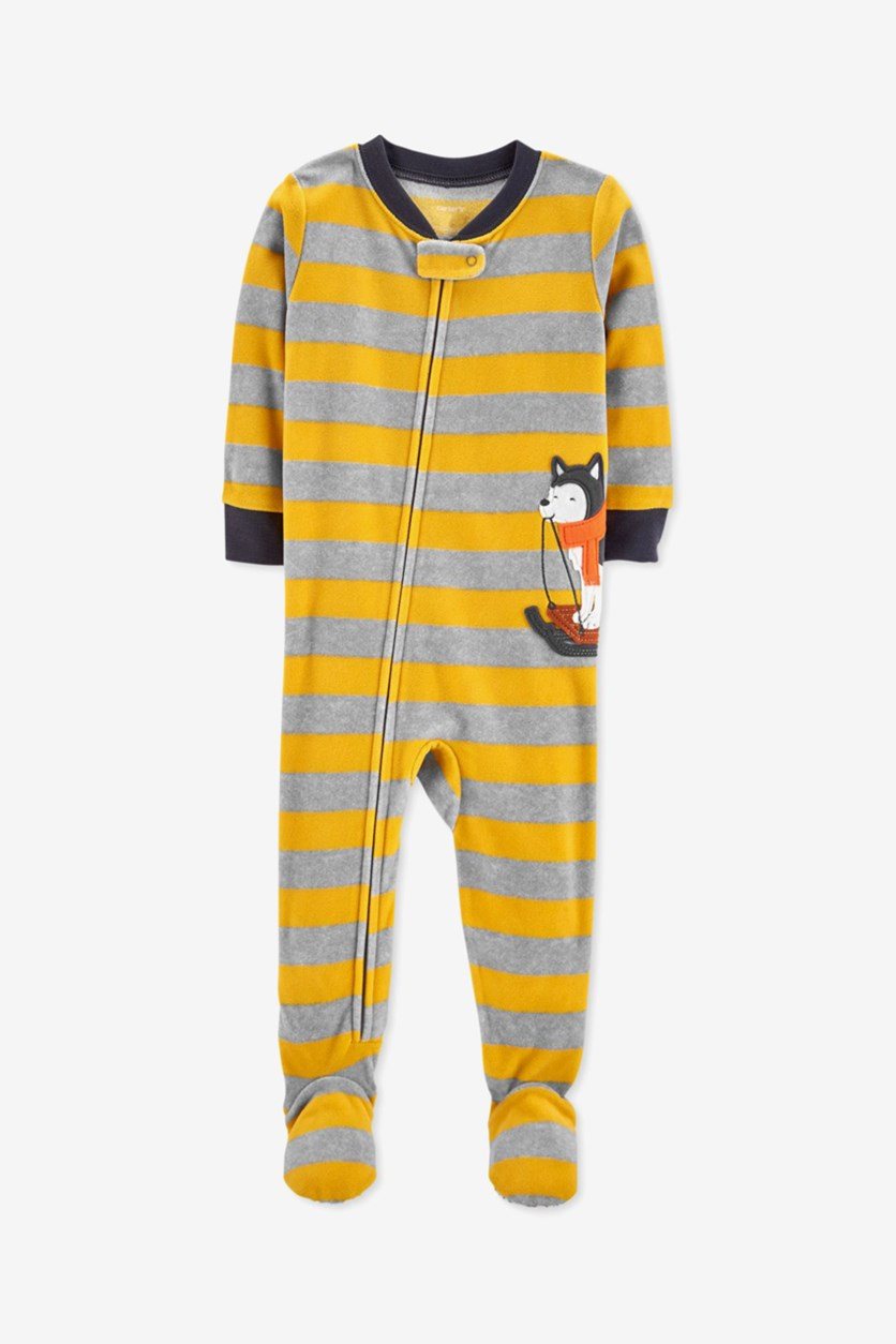 Boy Printed Microfleece Footed Pajamas, Yellow/Gray