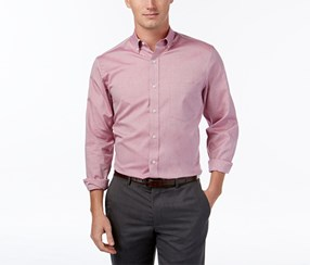Club Room Men's Solid Long Sleeve Button Down Shirt, Cherry Pink