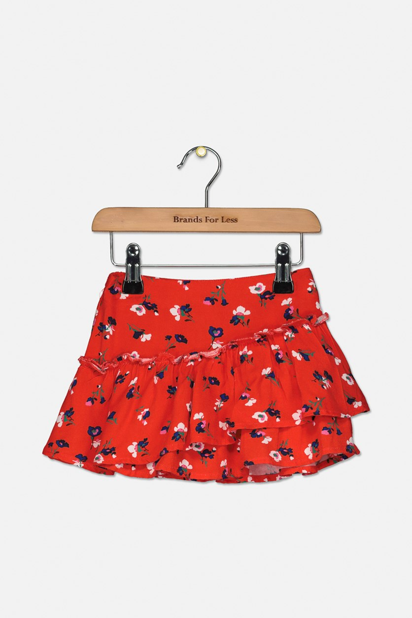 Toddlers Girl's Floral Skirt, Red