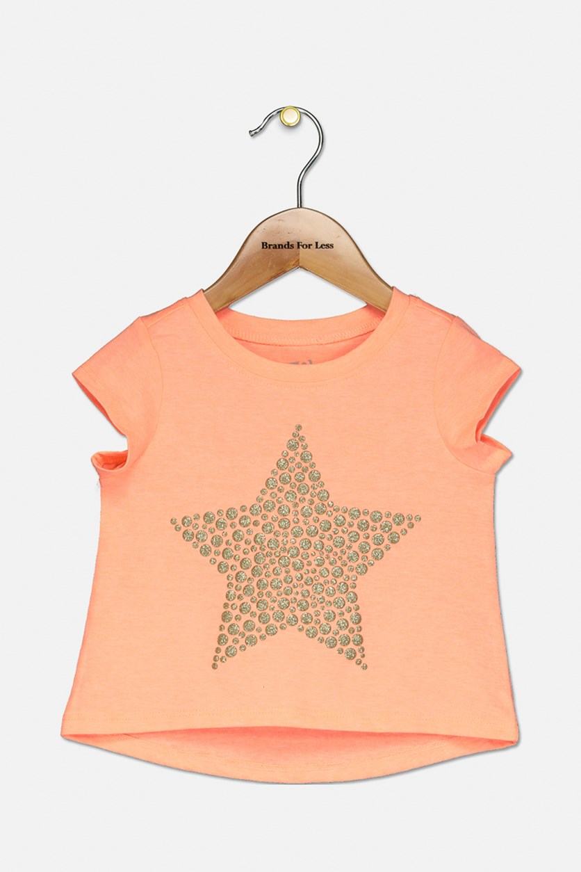 Toddler Girls Short Sleeve Star Glitter Top, Orange