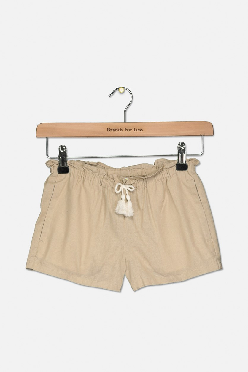 Kids Girl's Drawstring Short, Tan