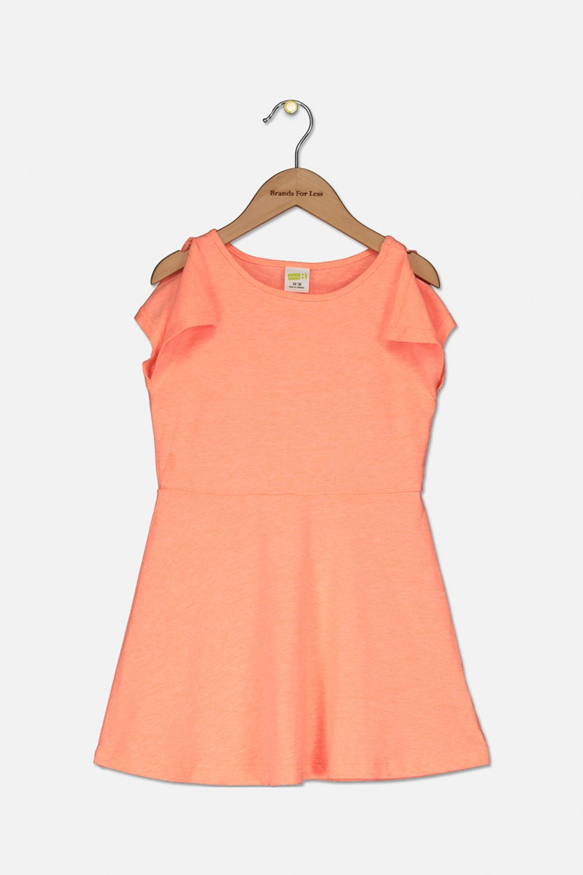 Kids Girls Slit Sleeve Dress, Orange