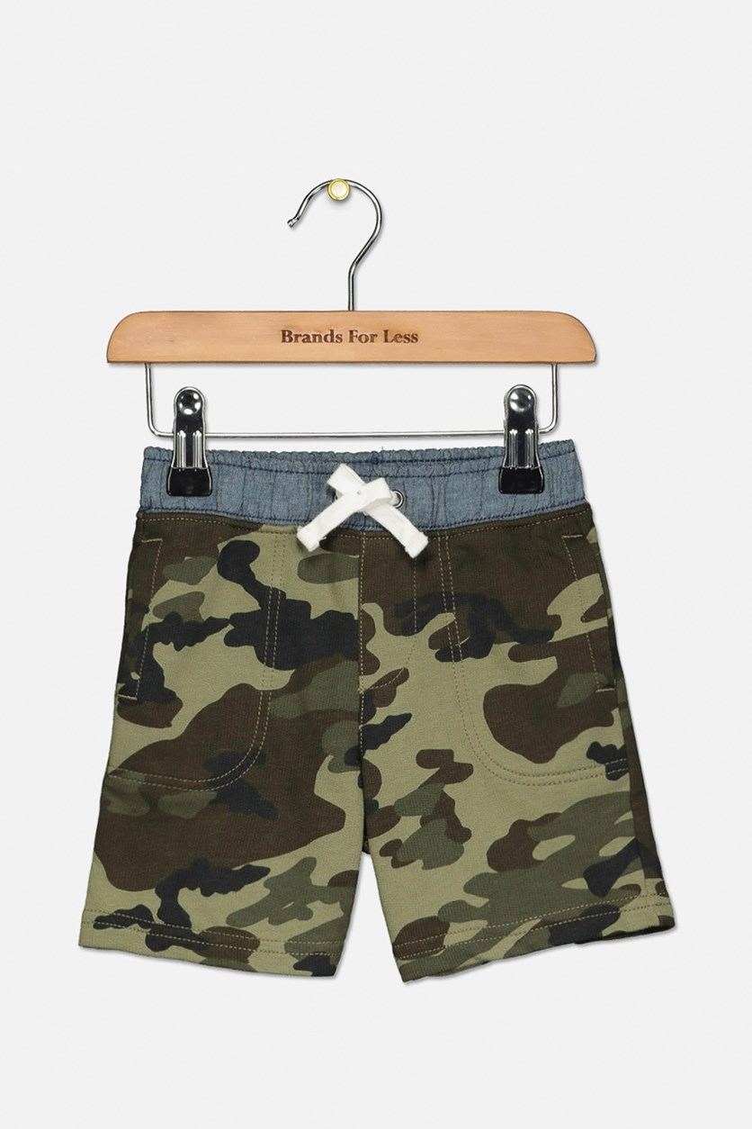 Toddlers Boy's Camouflage Print Short, Olive/Green Combo