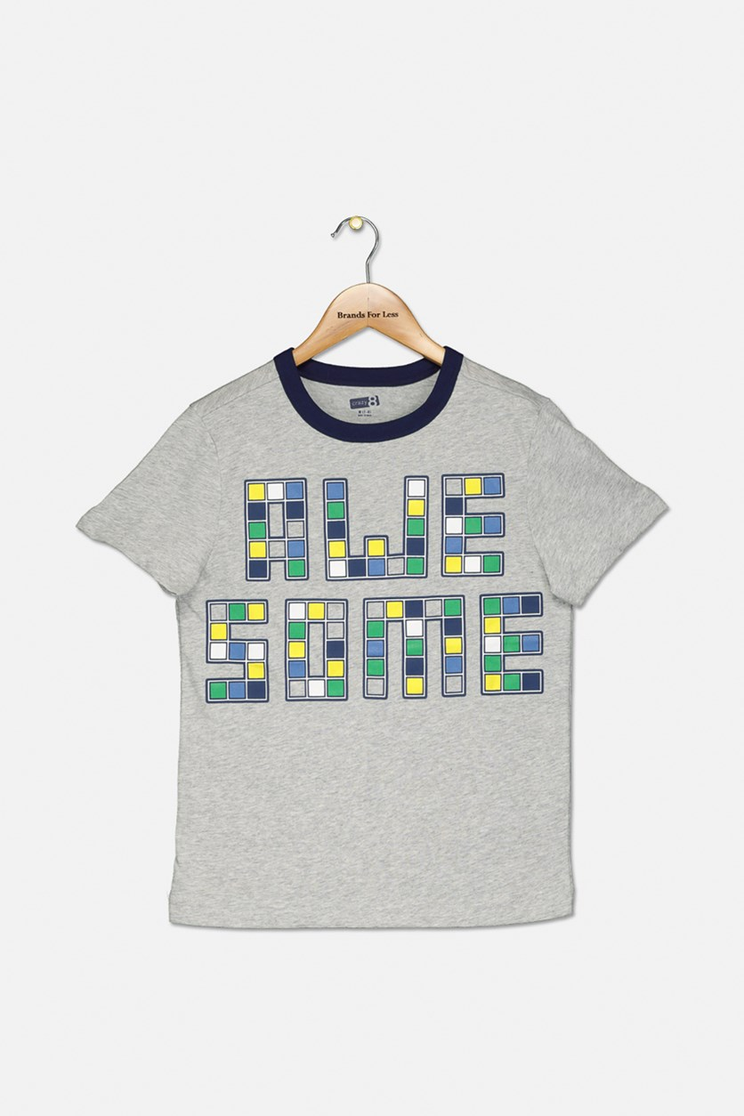 Boy's Graphic Tee, Grey Heather