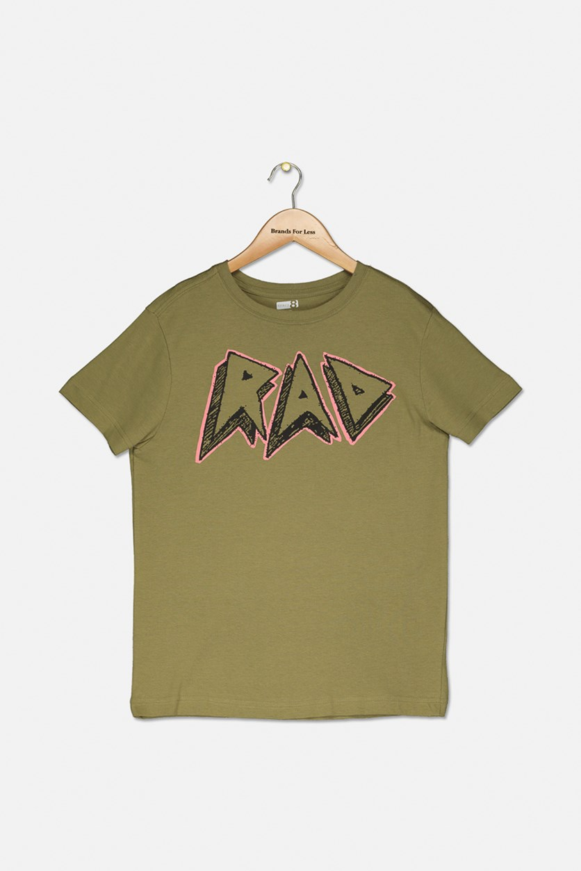 Kids Boy's Short Sleeve Graphic T-Shirt, Olive