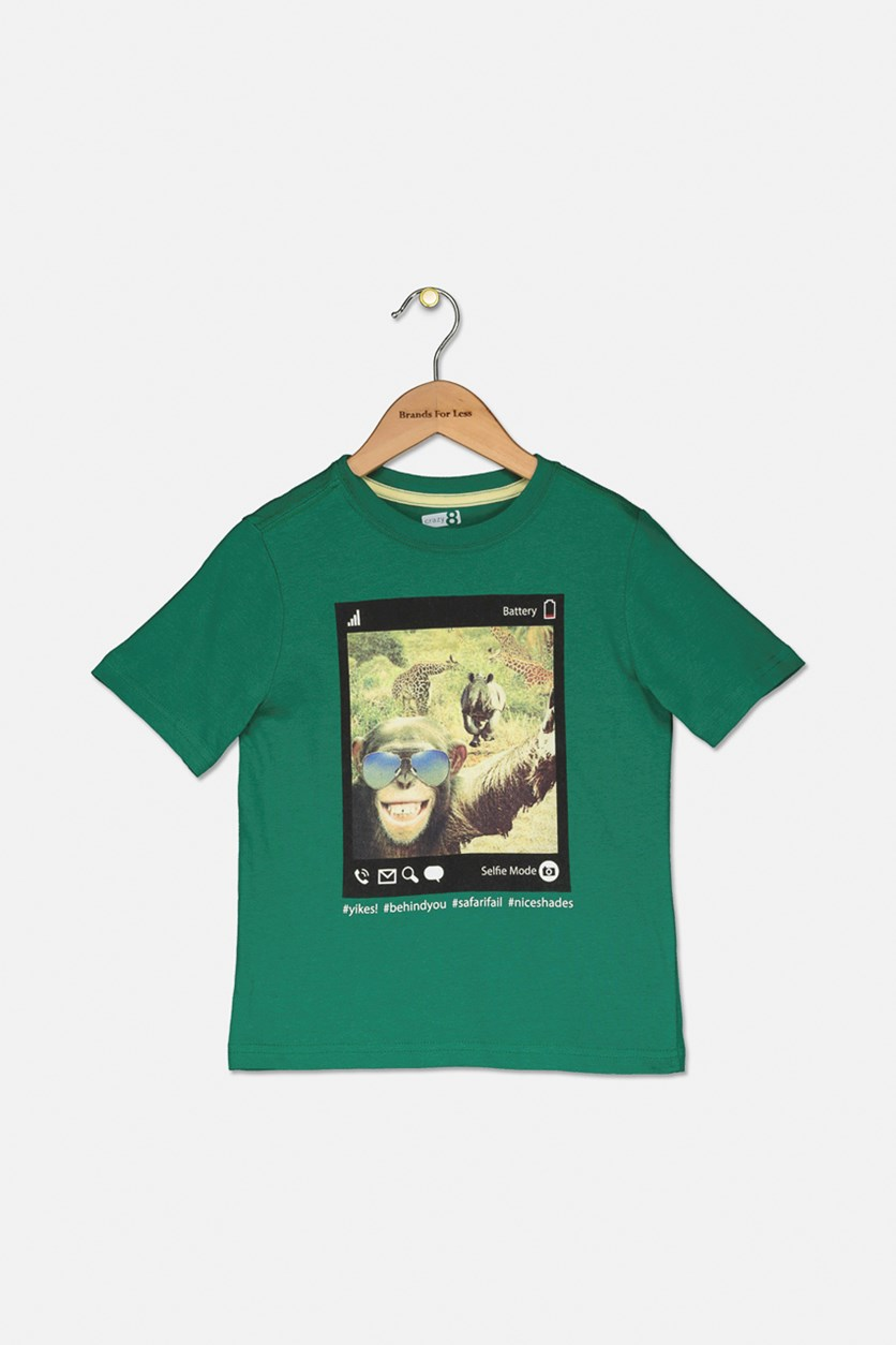 Boy's Short Sleeve Graphic T-Shirt, Green