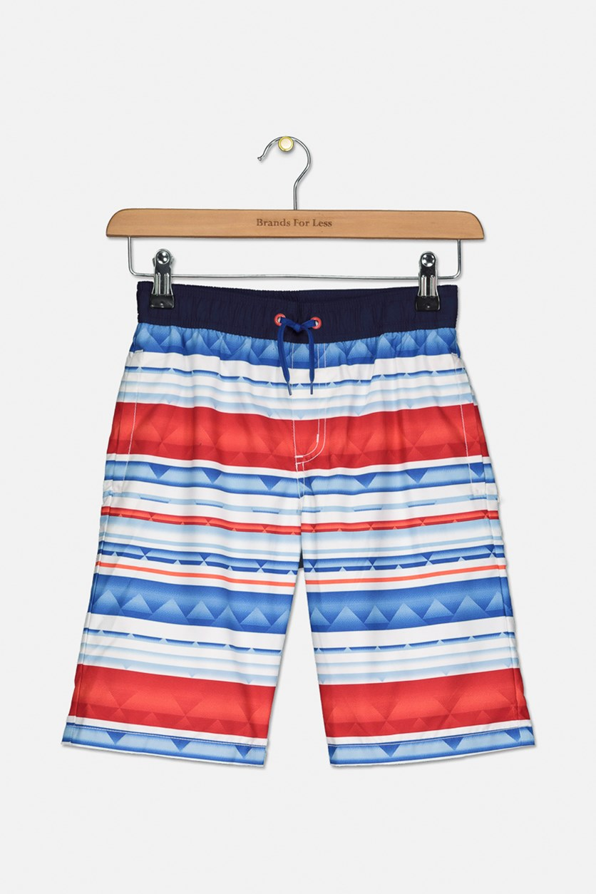 Kids Boy's Stripe Drawstring Short, Blue/Red Combo