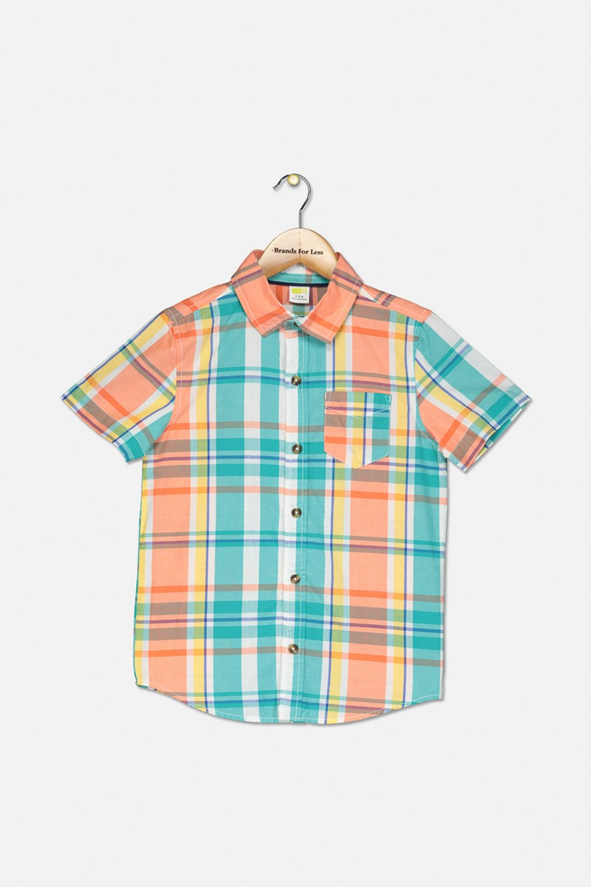 Kids Boy's Short Sleeve Plaid Casual Shirt, Turquoise/Orange Combo