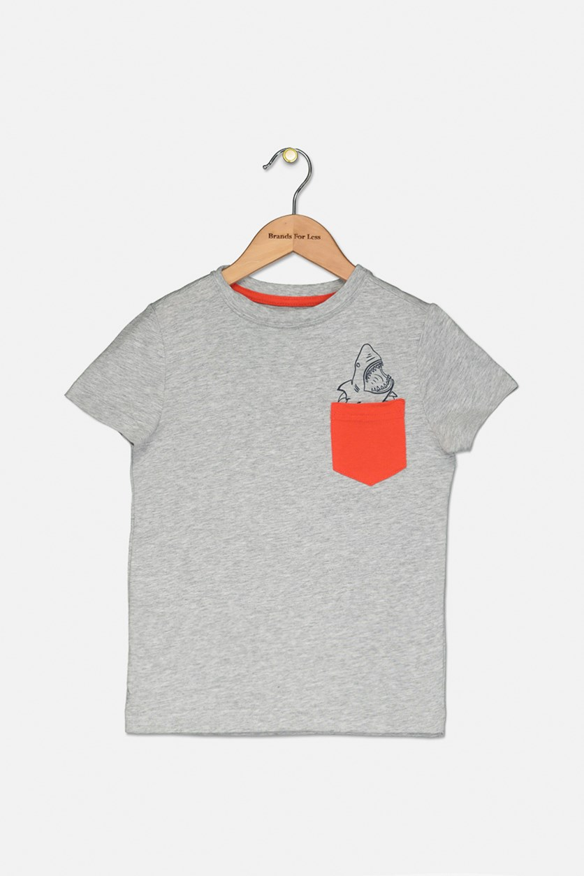 Kids Boy's Front Pocket T-Shirt, Gray