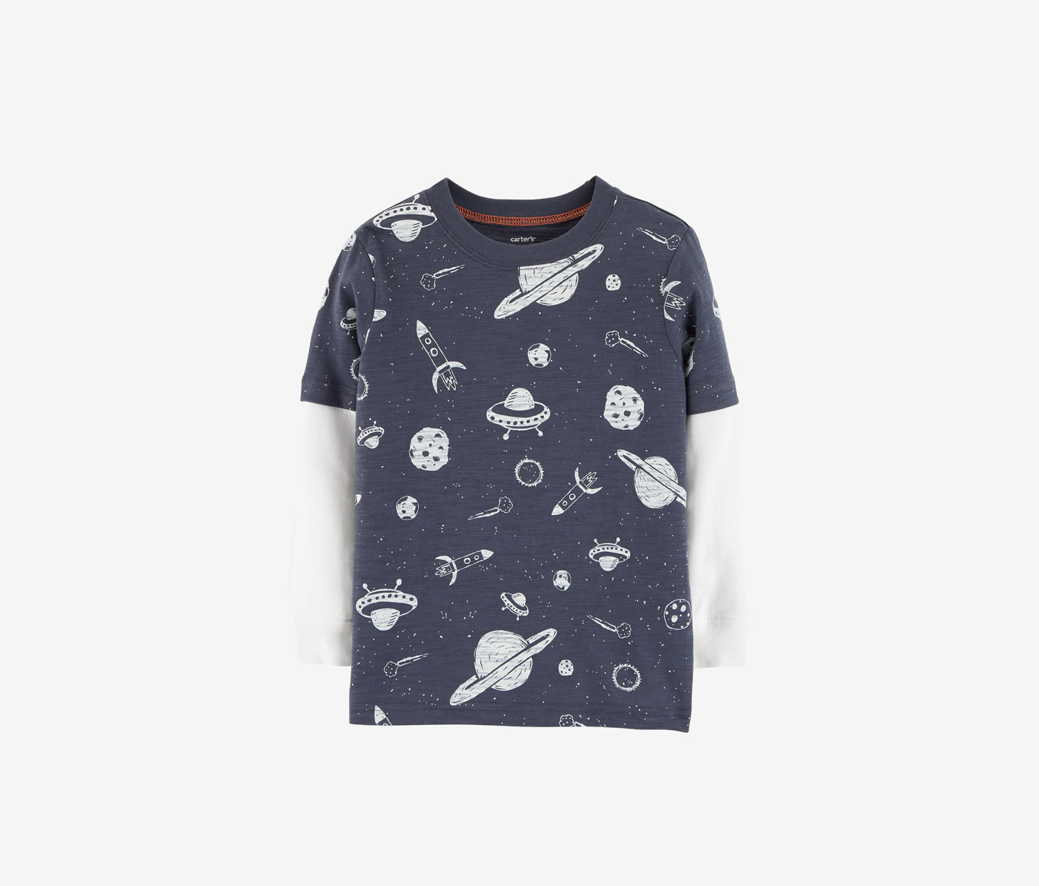 Toddler Boys Space Layered-Look Cotton Shirt, Navy/White