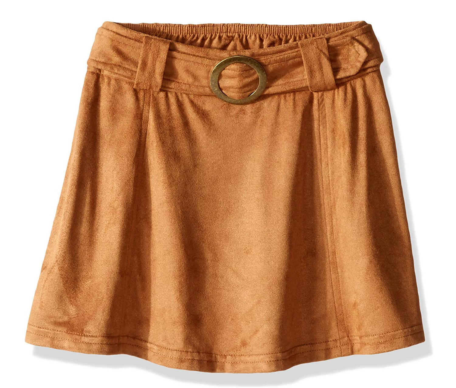 My Michelle Belt and Circular Buckle Faux Suede Skirt, Tan