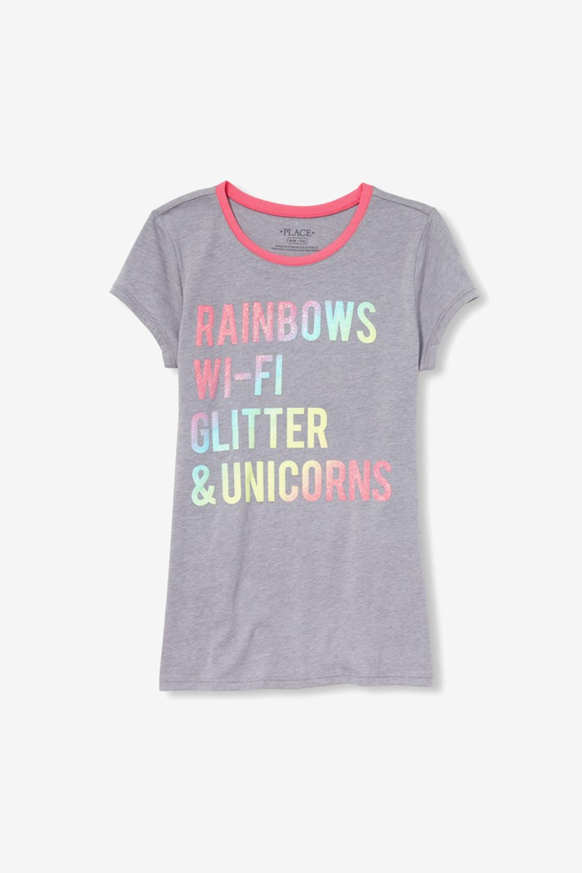 Girl's Graphic Rainbow Top, Light Grey