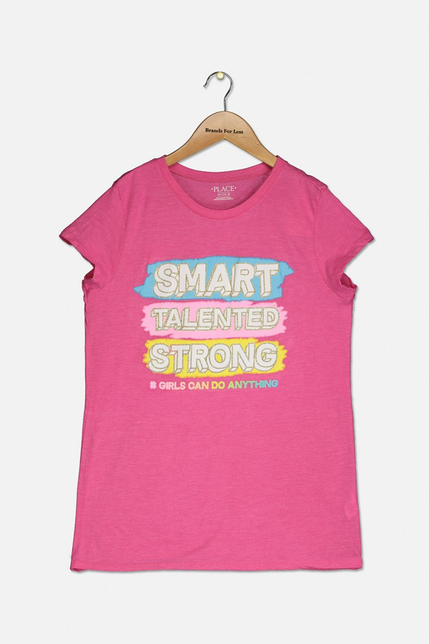 Girl's Smart Talented Strong Graphic Top, Pink