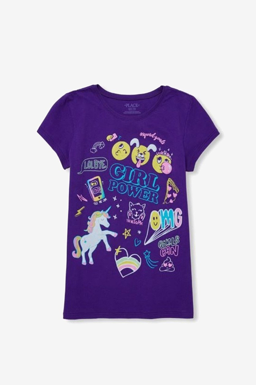 Girl's Graphic Print Top, Purple