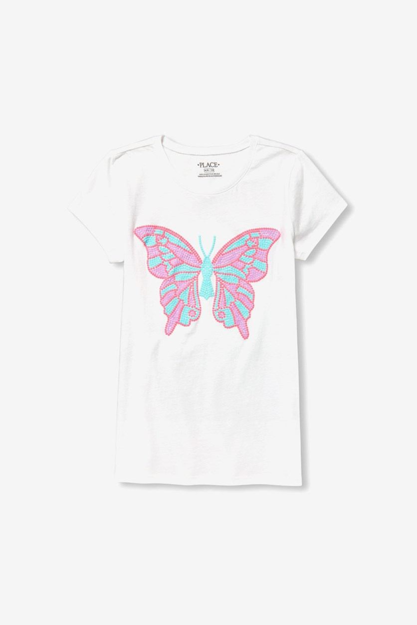 Girl's Butterfly Graphic Top, White