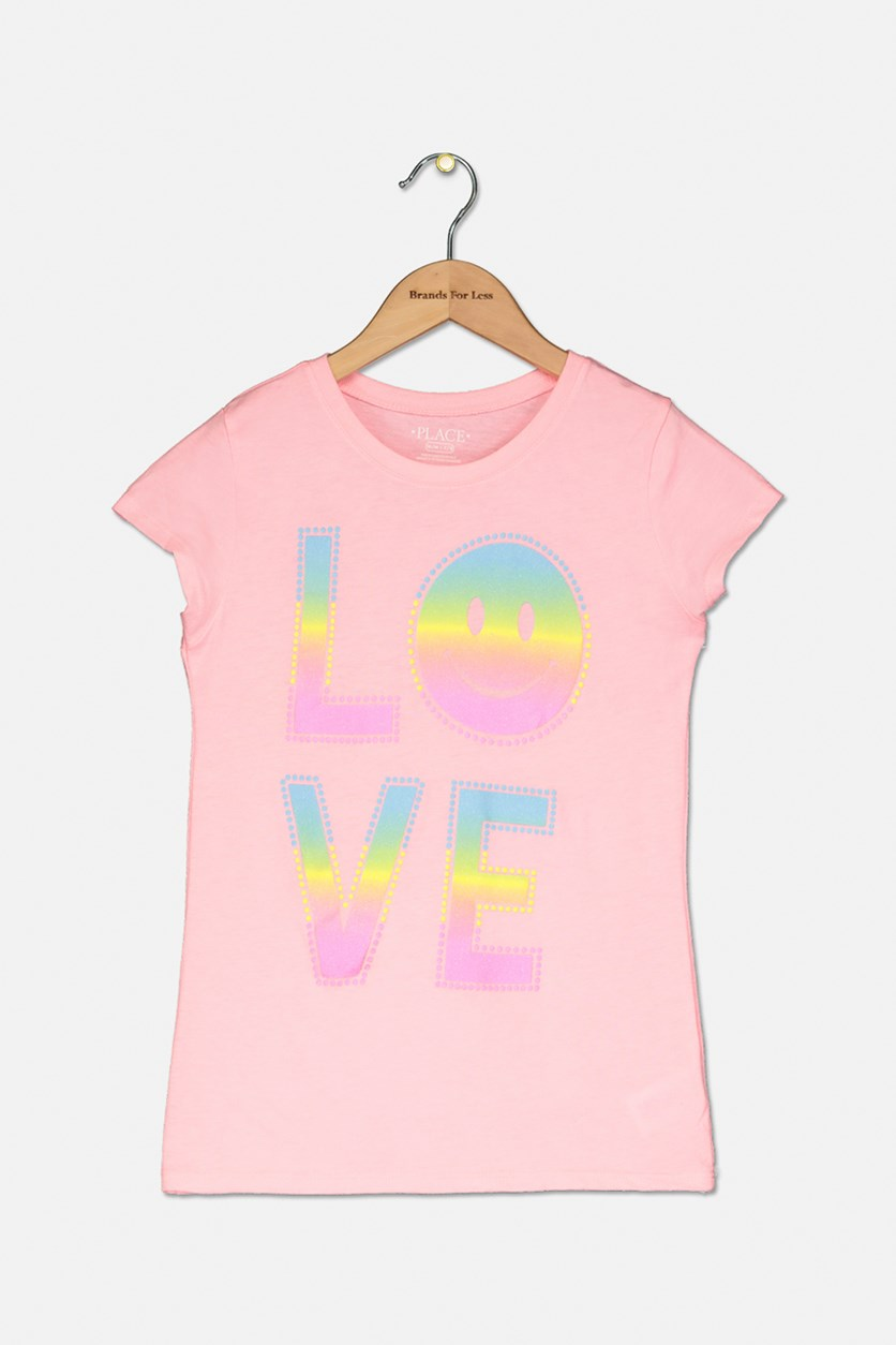 Girl's Love Smiley Graphic Top, Pink