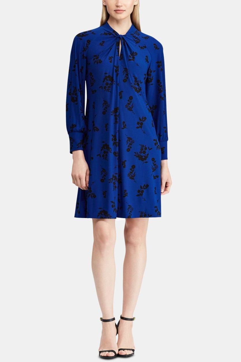 Women's Floral-Print A-Line Dress, Blue/Black