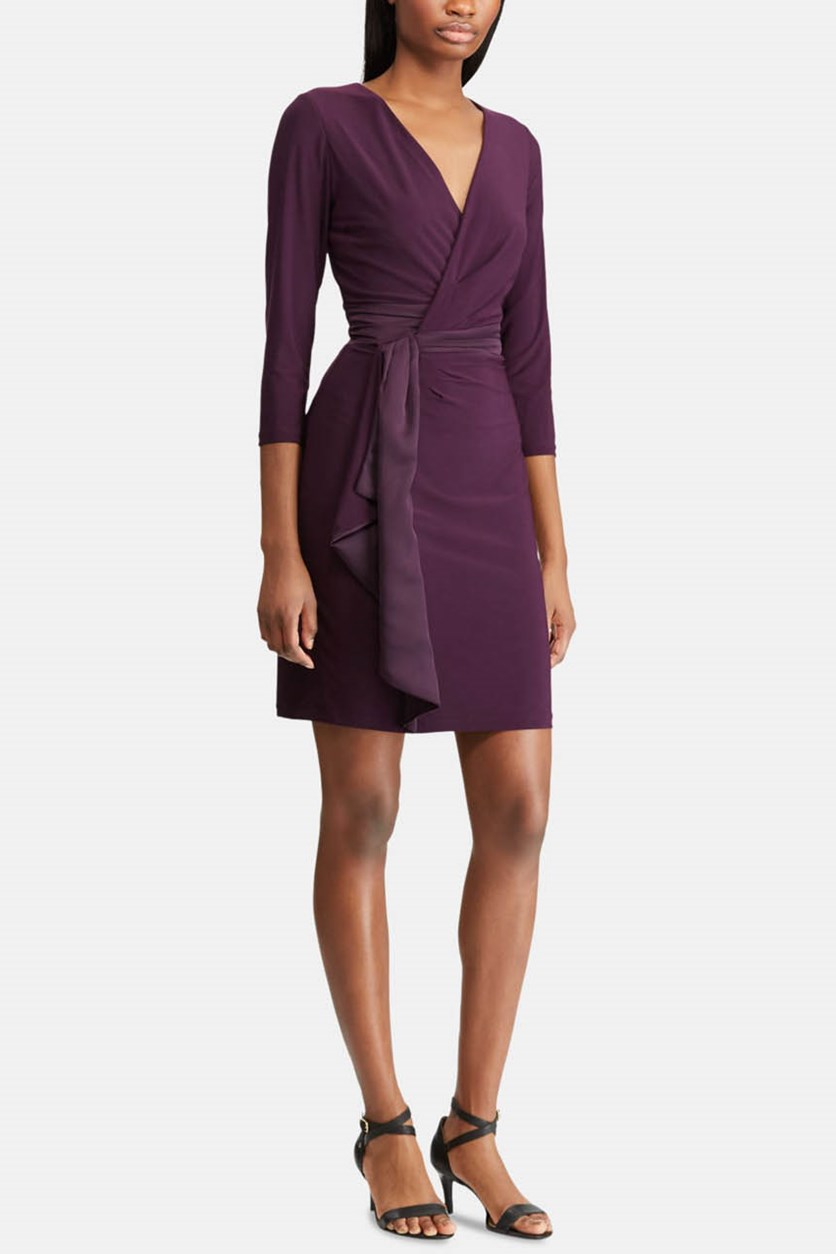 Women's Ruffled Shift Dress, Purple