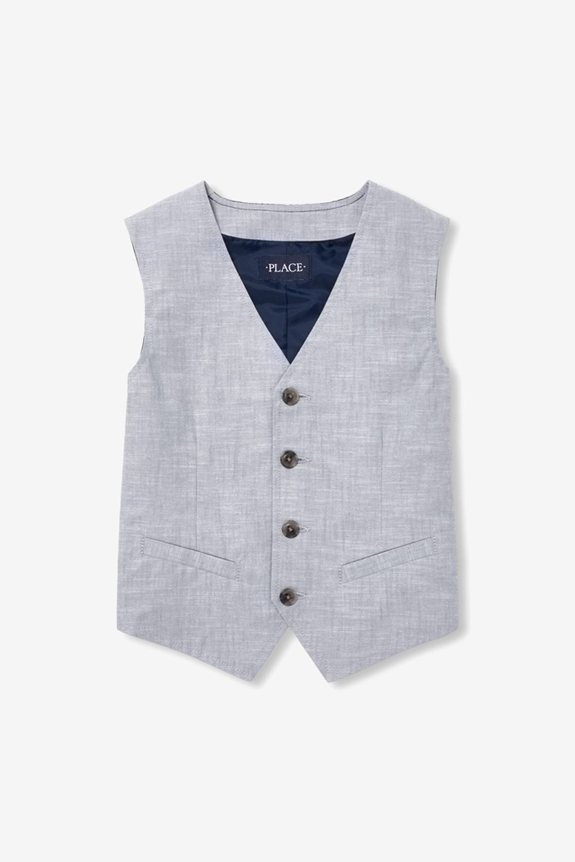 Boy's Four Button Dressy Vest, Fin Gray