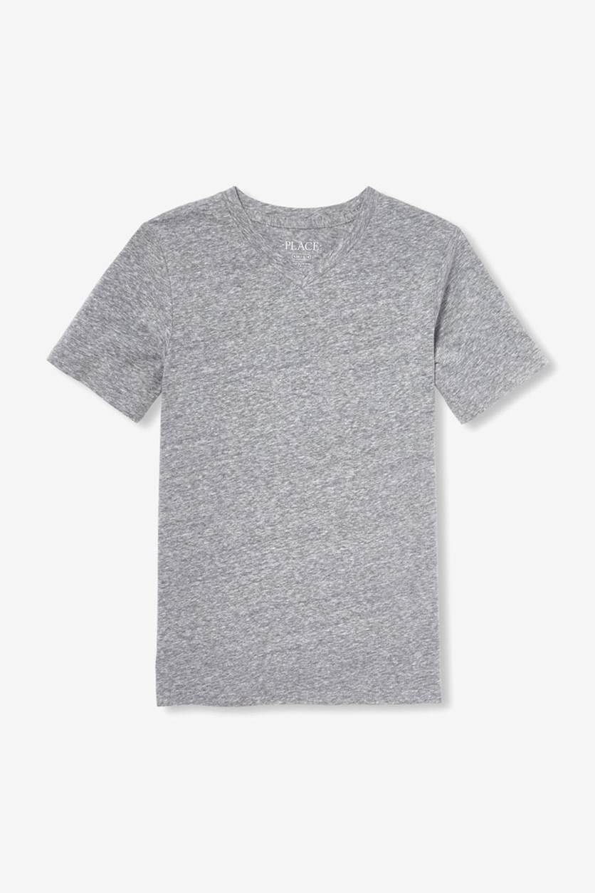 Boy's Short Sleeve Snow Marled Top, Motor Oil