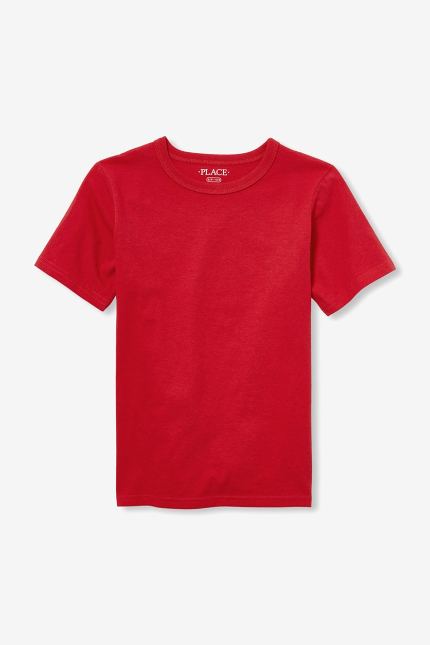 Kid's Boys Plain T-Shirt, Ruby