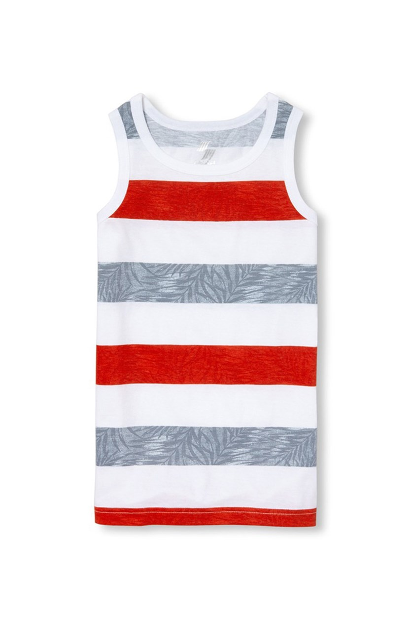 Boy's Graphic Print Striped Tank Top, Ruby/White Combo