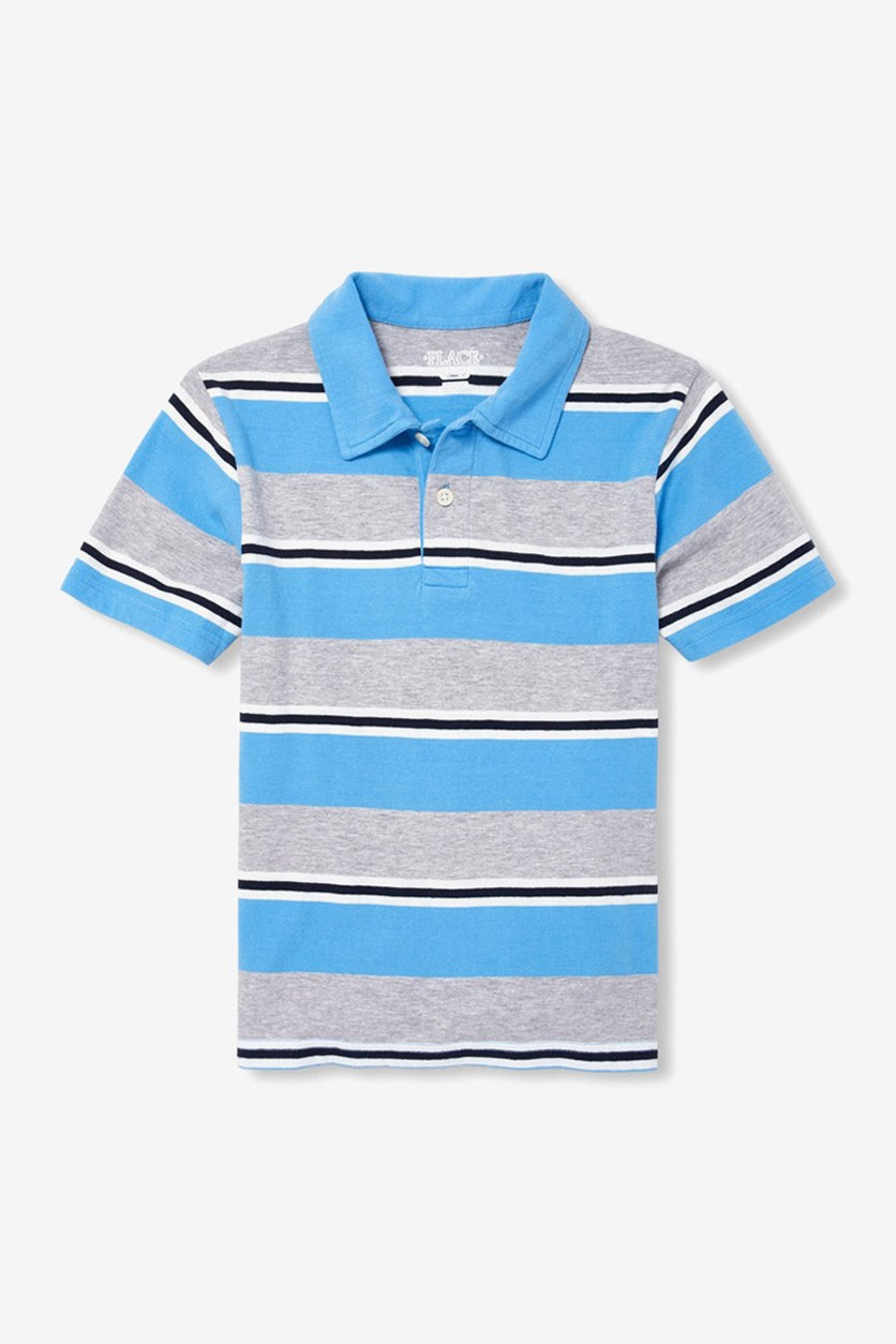Boy's Short Sleeve Striped Jersey Polo, Seaside Sail/Blue Combo