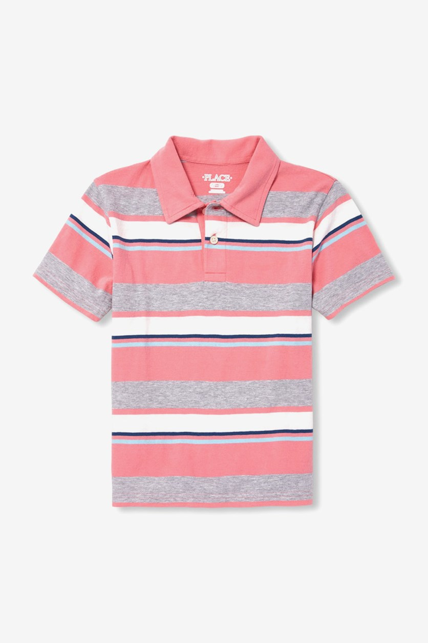 Boy's Stripe Polo Shirt, Desert Dawn