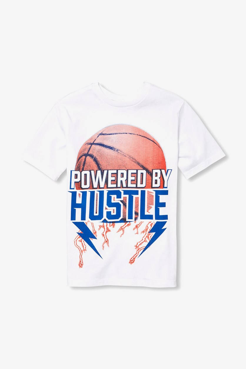 Kids Boys 'Powered by Hustle' Basketball Graphic Tee, White