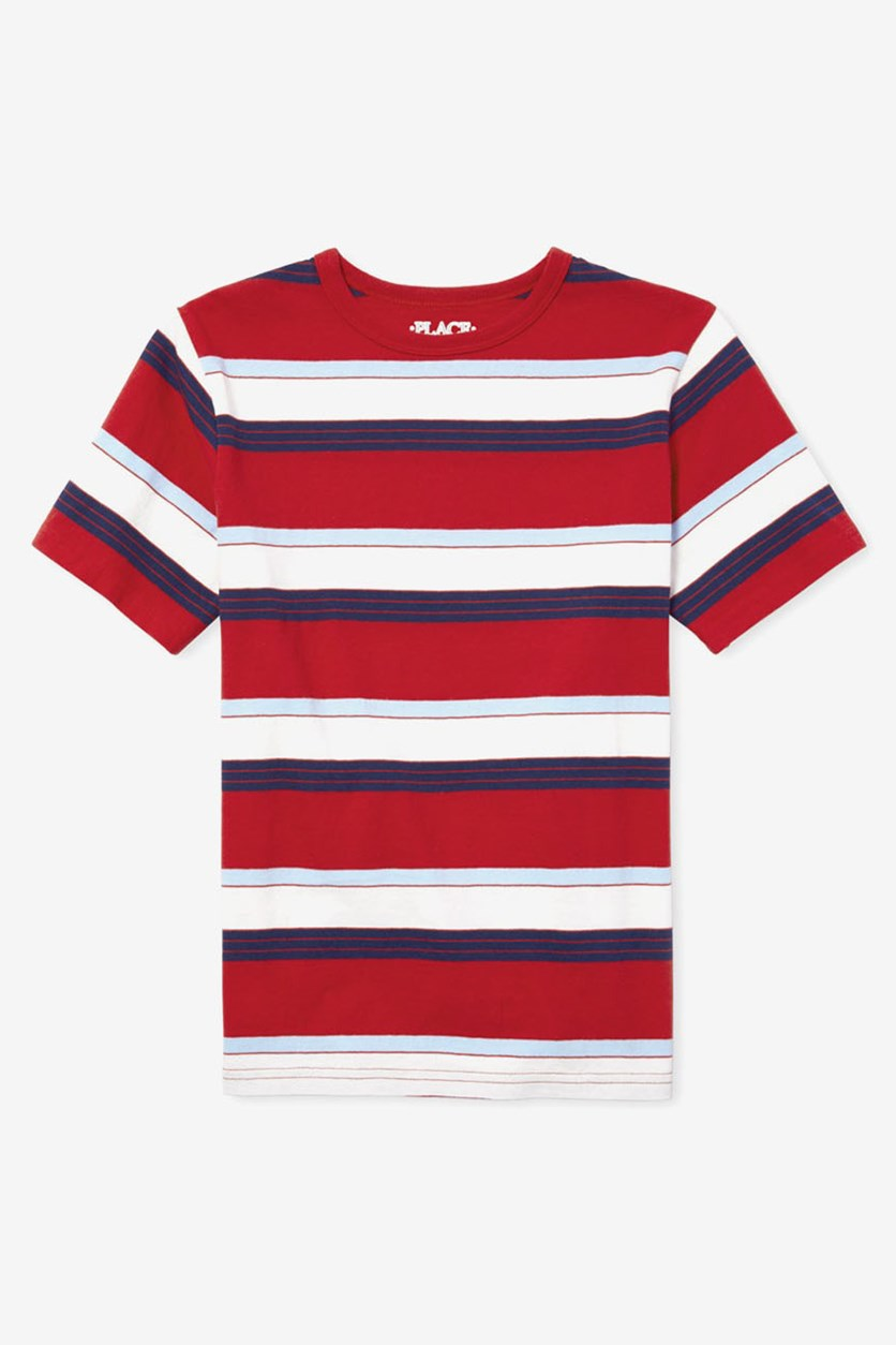 Boy's Stripe Short Sleeve T-Shirt, Red Combo