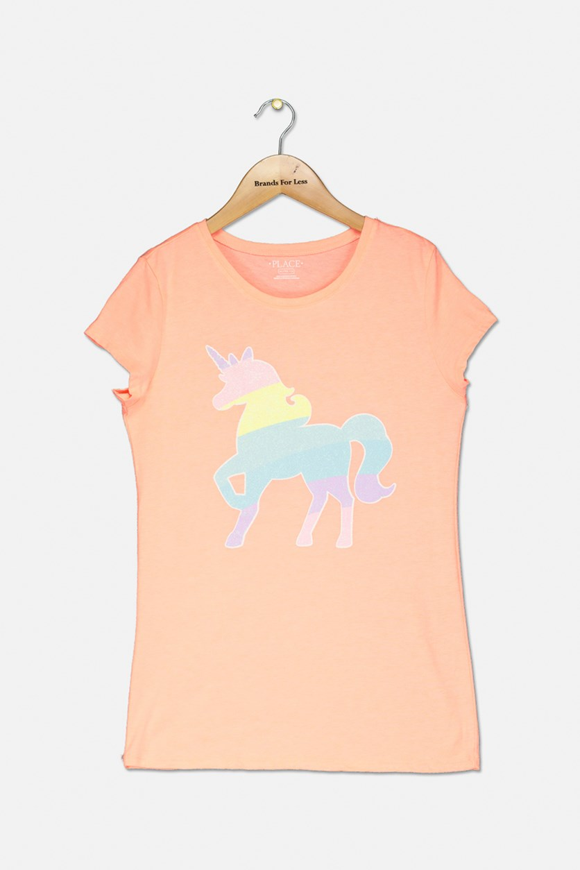 Kids Girl's Pony Glitter Graphic Top, Neon Orange