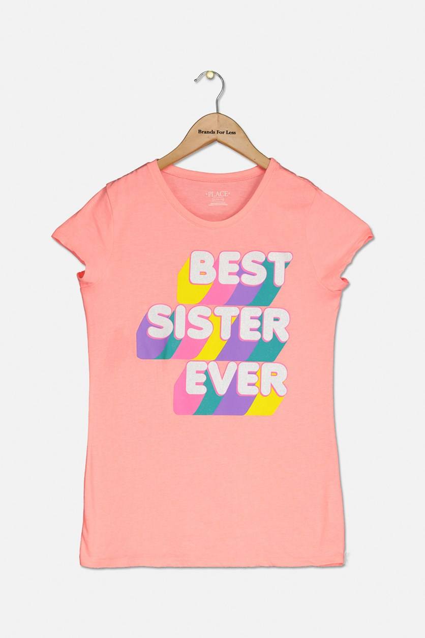 Girl's Best Sister Ever Graphic Top, Neon Pink