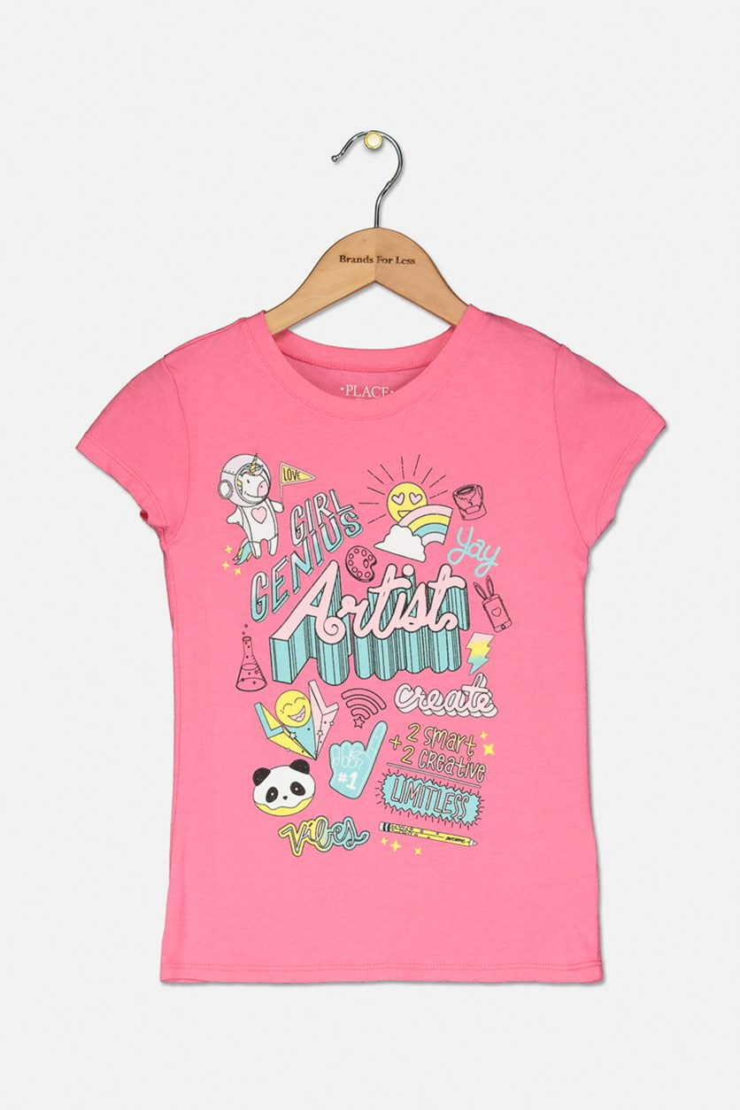 Girl's Genius Artitst Graphic Top, Pink