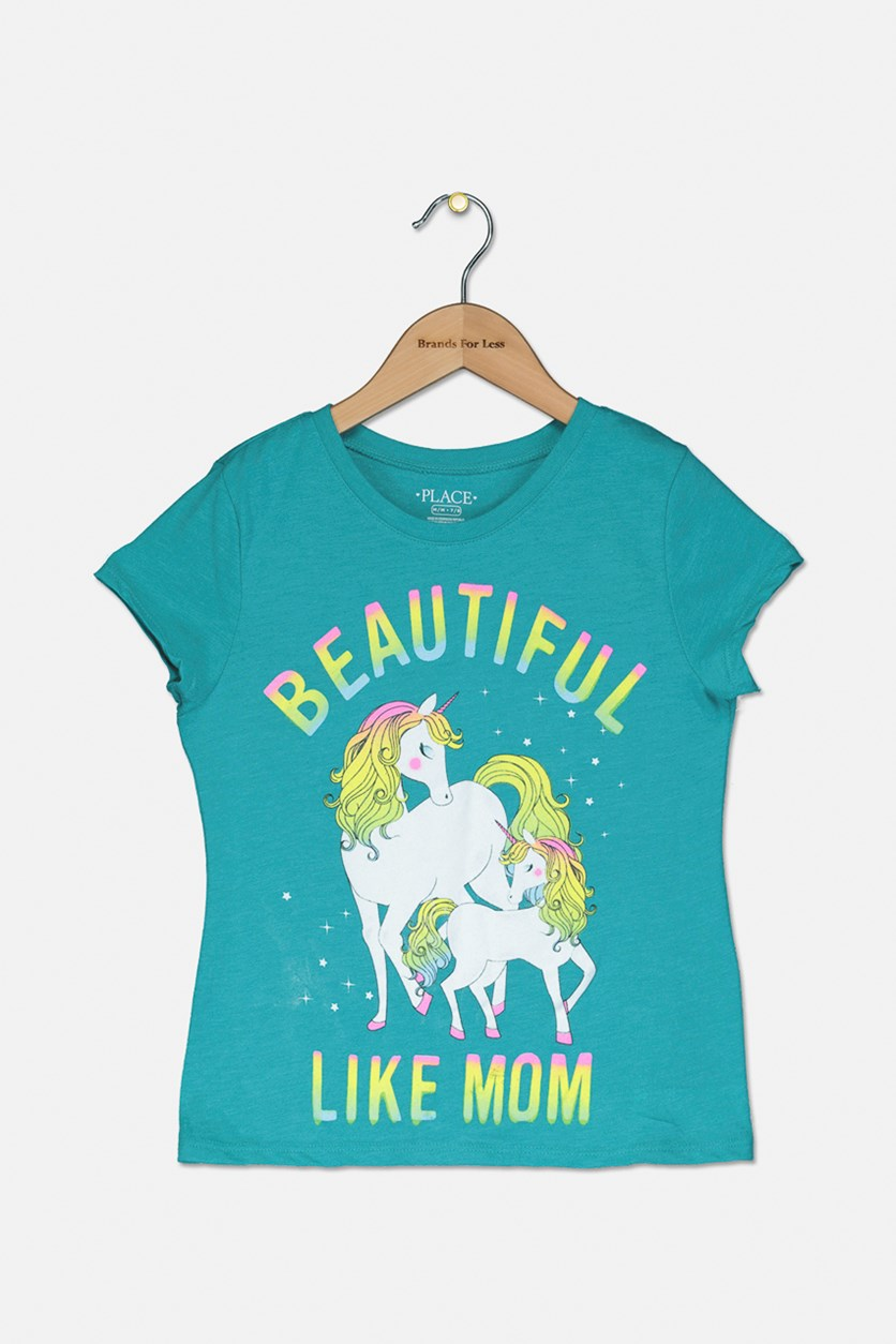 Girl's Unicorn Beautiful Like Mom Tee, Teal