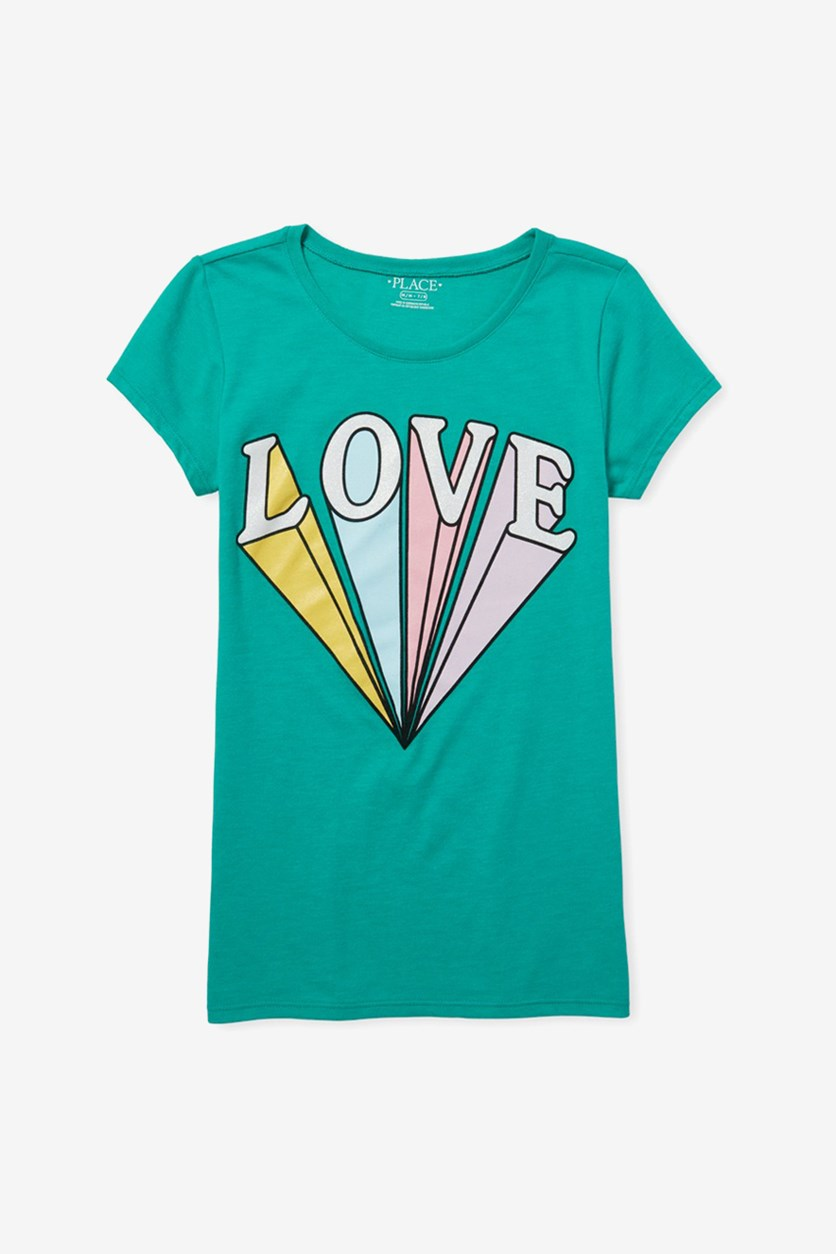 Girl's Love Glitters Graphic Tee, Forest